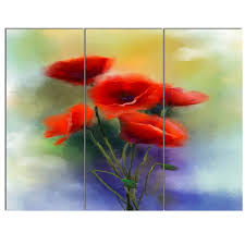 watercolor red poppy flowers painting 3 piece painting print on canvas set