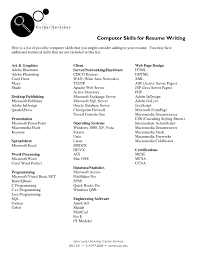 Adorable Resume Basic Computer Skills Example About Basic Puter