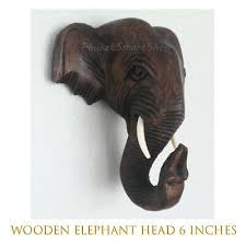 collectibles elephant head 6 wooden