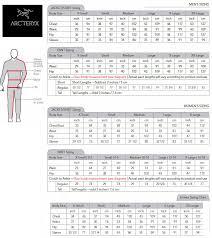 Arcteryx Jacket Size Chart