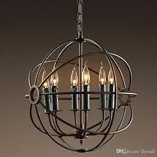lighting restoration hardware vintage pendant lamp iron orb chandelier rustic loft light wrought track fixtures santa