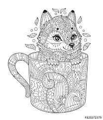 Small Picture Vector Fox in cup Adult antistress coloring page with animal in
