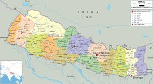 detailed political map of nepal  ezilon maps