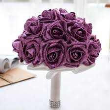 Bling Bling Sparkly 2019 New Fashion Bridal Bouquet Flowers Wedding Decoration Artificial Bridesmaid Flower Crystal Silk Rose Cpa1586 Flower Bouquet