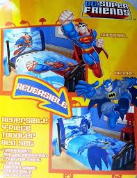 dc super friends reversible batman superman toddler bedding set 4 piece comforter sheets