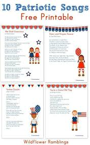 best patriotic songs for kids ideas wildflower  10 patriotic songs for children printable