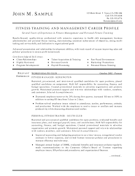 resume objectives for managers fitness trainer and manager resume
