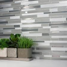 Adhesive Decorative Wall Tile Smart Tiles Milano Grigio 100100 in W x 100100 in H Grey Peel and 2