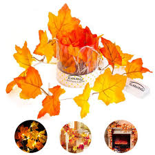 Fall Color String Lights Xlanjingj Fall Decorations Fall Garland Decorations Light Fall Colored Artificial Maple Leaves For Weddings Party Events And Decorating