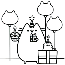 Pusheen Coloring Pages Party Theme Pusheen The Cat Pusheen