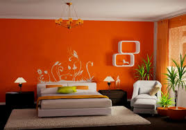 orange wall paintInterest Wall Colors For Bedrooms  Orange As The Bedroom Wall