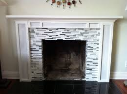 Glass Tile Fireplace: DIY mantel with glass tile,Pin by Leslie Monson .