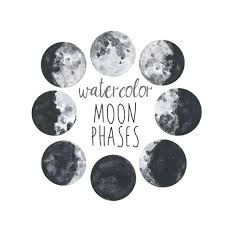 Moon Chart Watercolor Moon Phases Lunar Chart Clip Art Digital Download Moon Chart Lunar Phases Moon Clipart Watercolor Lunar Clip Art Moon Art