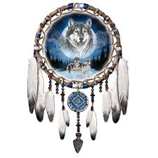 native american dreamcatcher wolf. The Bradford Exchange Of Native American Dreamcatcher Style Wall Dcor With Wolf Artwork Amazoncouk Kitchen Home And Amazon UK