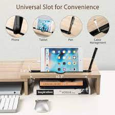 Buy LORYERGO Dual Monitor Riser Stand - 3 Shelf Screen Laptop Stand with  Storage Slots for Phone (Light Wood) Online in Indonesia. B08CK59J6F