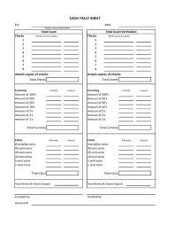 Cash Drawer Count Sheet Template Money Template Counting
