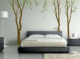 interior: Fabulous Tree Picture On Wall Pattern Ideas With Simple Bed Side  Interesting Stand Lamp