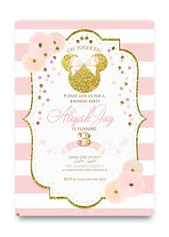 Birthday Invatations Glitter Minnie Mouse Birthday Invitation