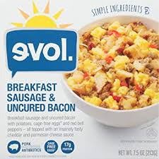 evol breakfast sausage and uncured bacon bowl with potatoes eggs and red bell peppers in