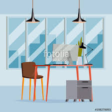 modern interior office stock. Office Interior Vector. Business Workplace. Modern Design. Flat Illustration Stock