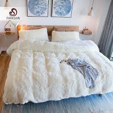 parkshin white cloud mink velvet bedding set elegant duvet cover active printing bed linen bedclothes queen king size clearance duvet covers blue duvet