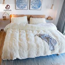 parkshin white cloud mink velvet bedding set elegant duvet cover active printing bed linen bedclothes queen king size clearance duvet covers blue duvet