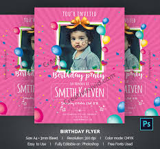 Birthday Invitation Flyer Template Delectable 48 Kids Birthday Party Flyer Templates Free Premium Download