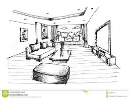 interior design living room drawings. Fine Living Hand Drawing Interior Design For Living Room Stock Photography Inside Living Room Drawings