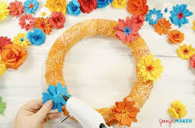 Diy Paper Flower Wreath How To Make A Paper Flower Wreath The Crafty Blog Stalker