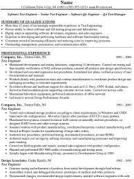 qtp sample resume examples engineering resumes test engineer dot - Resume  Samples For Software Tester