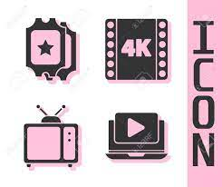 Set Online Play Video, Cinema Ticket, Retro Tv And 4k Movie, Tape, Frame  Icon. Vector. Royalty Free Cliparts, Vectors, And Stock Illustration. Image  150261403.