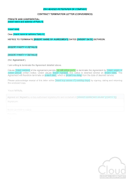 Letter To Terminate Contract With Supplier Contract Termination Letter Convenience
