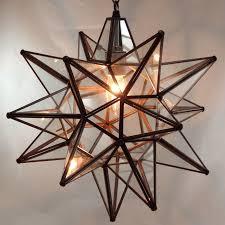 moravian star pendant light clear glass bronze frame 16
