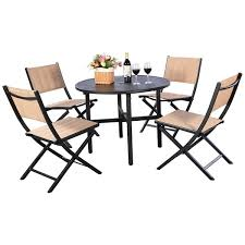 Earthy furniture Contemporary Costway Pcs Patio Outdoor Folding Chairs Table Furniture Set Backyard Bistro Black And Earthy Outwardboundbermudaorg Shop Costway Pcs Patio Outdoor Folding Chairs Table Furniture Set