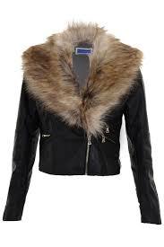 las detachable faux fur collar women s crop synthetic leather biker jacket
