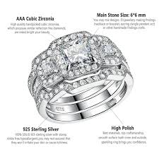 engagement wedding ring set for women 925 sterling silver 3pcs princess cz
