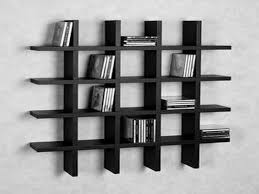 Fancy Black Finished Custom Modern Wall Shelves For Book Storage Hang On  White Wall As Black And White Theme Interior Decors
