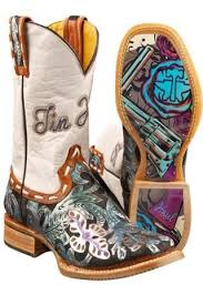 Whip It Tin Haul Cowboy Boot With Guns And Roses Obvious