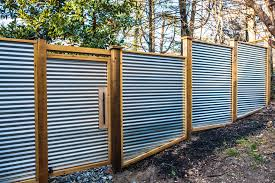 Wood and metal privacy fence Metal Frame Corrugated Metal Fence Idea New England Shakespeare Corrugated Metal Fence Idea All Home Decor Classic And Beautiful