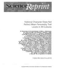 National Character And Personality