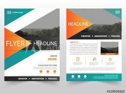 Green Brochure Template Orange Green Triangle Vector Business Proposal Leaflet Brochure