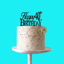 Amazoncom Happy 40th Birthday Cake Topper Black Acrylic For 40th
