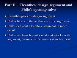 Design Argument Part Ii Cleanthes Design Argument And Philos Opening
