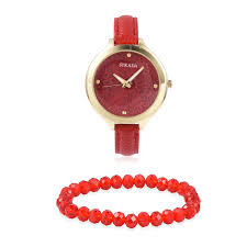 strada japanese movement water resistant red faux leather band watch with stainless steel back and matching