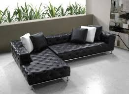 modern leather sectionals. Brilliant Modern Black Button Tufted Leather Modern Sectional Sofa WSteel Legs 254915 On Sectionals