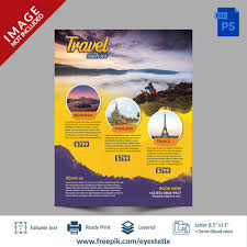 Travel Flyer With Brush Effect Psd File Premium Download