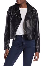 french connectionfaux leather flat studded asymmetrical zip moto jacket