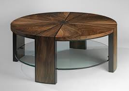 circular coffee table with glass shelf