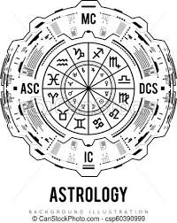 Astrology Background Natal Chart Zodiac Signs Houses And Significators Hud Interface Futuristic Design Vector Illustration