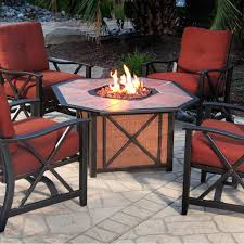 agio haywood 4 person aluminum patio deep seating set with fire pit table